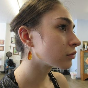 Vintage Amber and Silver Earrings